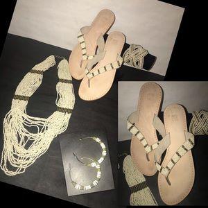 Jewelry - Bundle Bead Necklace, Bracelet, Earrings, Sandals